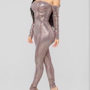 Fashion Nova Metallic Sequin Jumpsuit